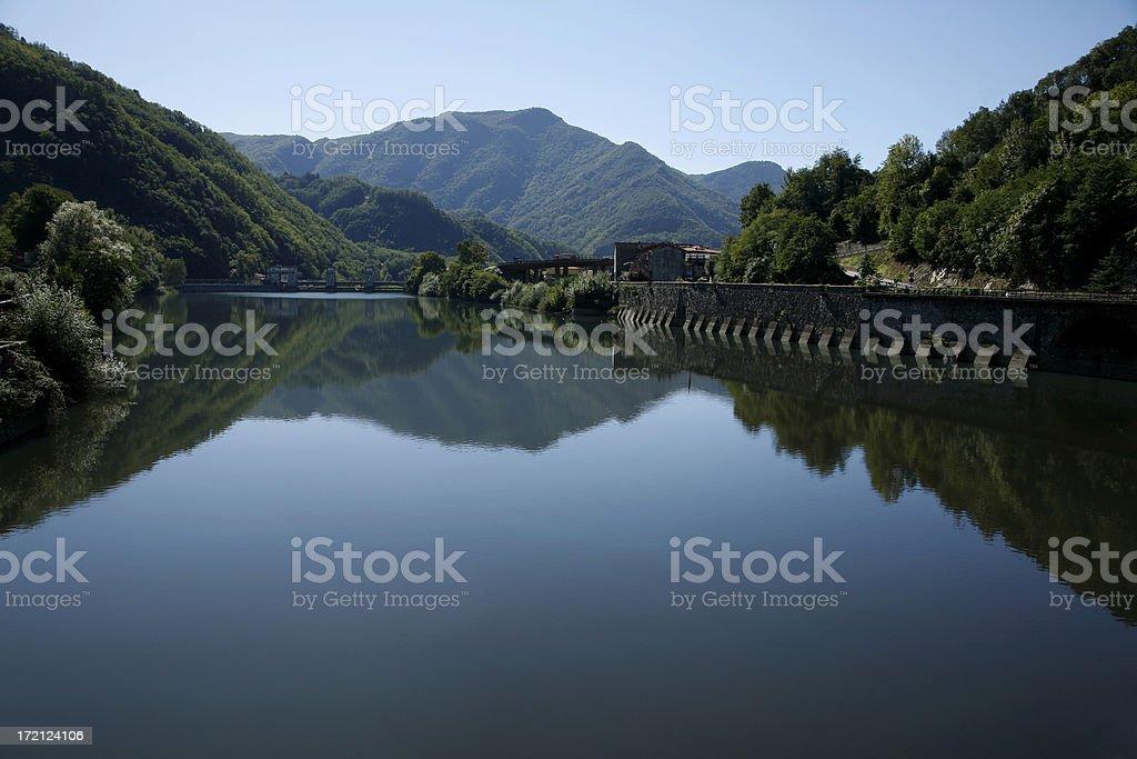 Beautiful River Serchio Near Bagni Di Lucca Italy. stock photo