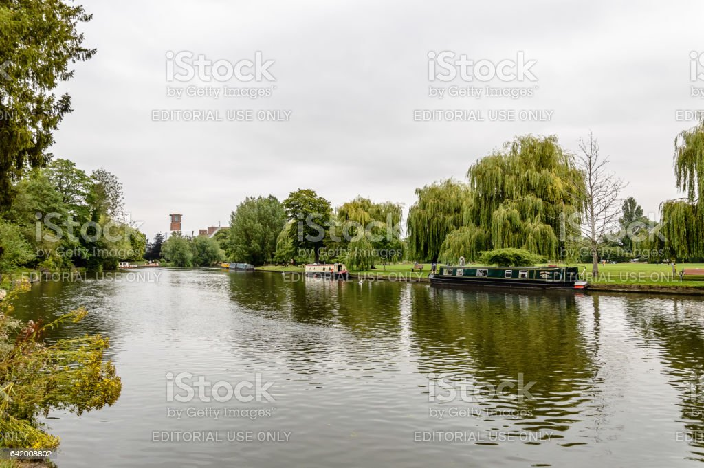Beautiful river with boats stock photo