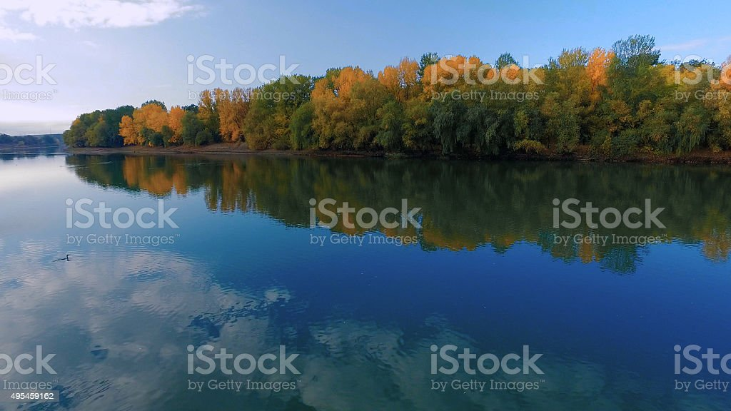Beautiful river with golden autumn forest growing on riverbank stock photo
