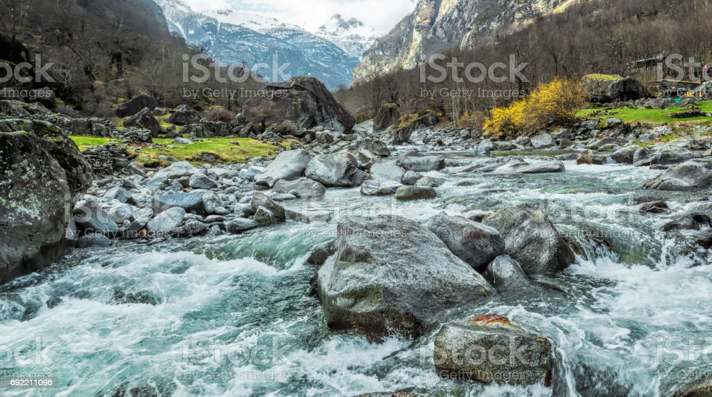 Beautiful riverbed in Canton Ticino, Switzerland stock photo