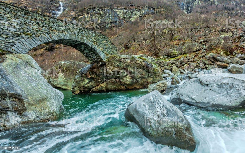 Beautiful riverbed in Canton Ticino, Switzerland stock photo