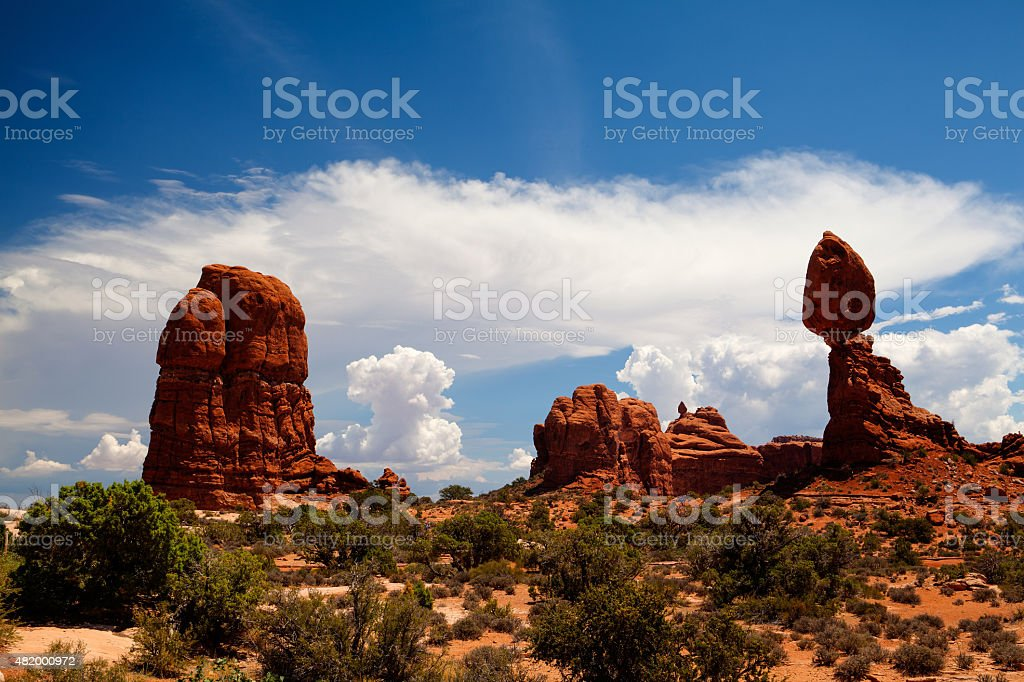 Beautiful rock formations in Arches National Park, Utah, USA stock photo