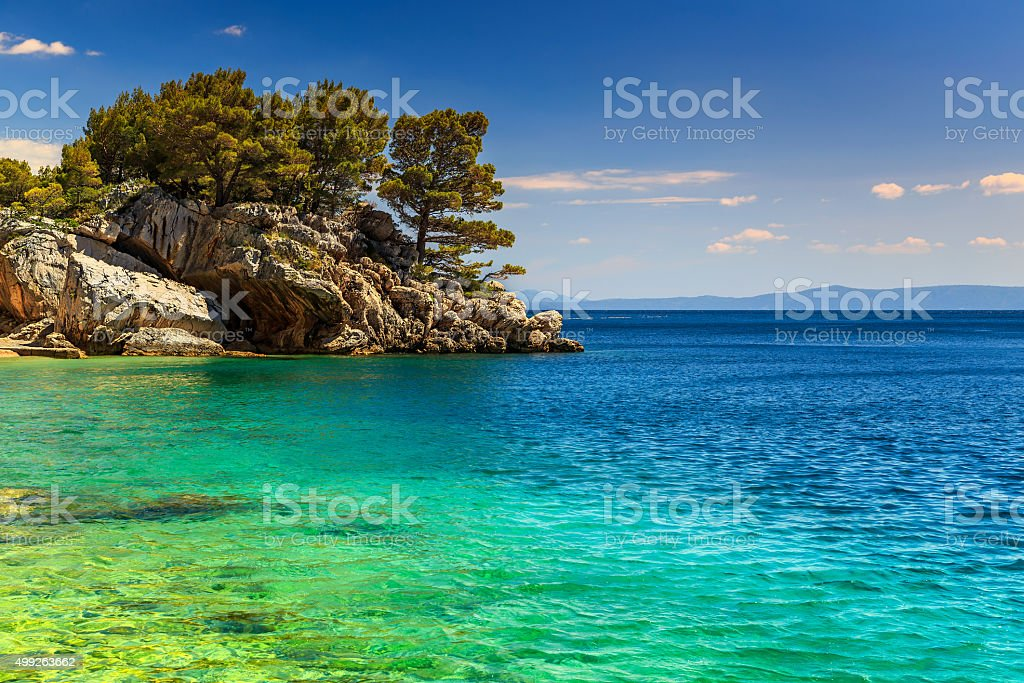 Beautiful rock peninsula,Brela,Makarska riviera,Dalmatia,Croatia,Europe stock photo