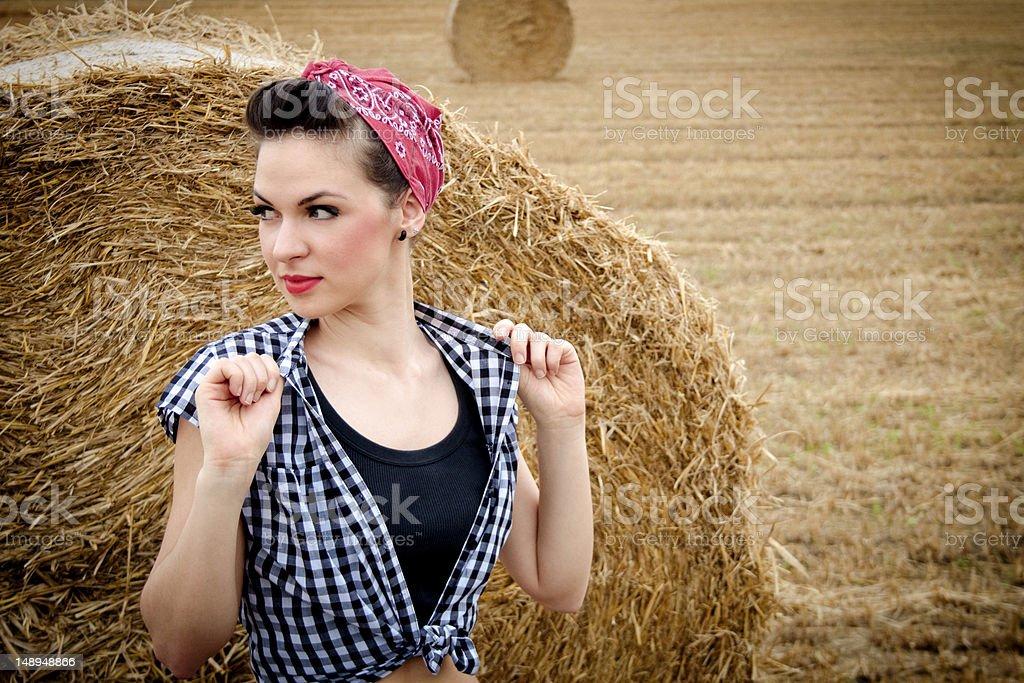 아름다운 로커빌리 여자아이 쥠 자신의 neckband royalty-free 스톡 사진