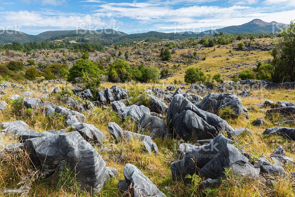 beautiful rocks and mountain landscape at Takaka Hill stock photo