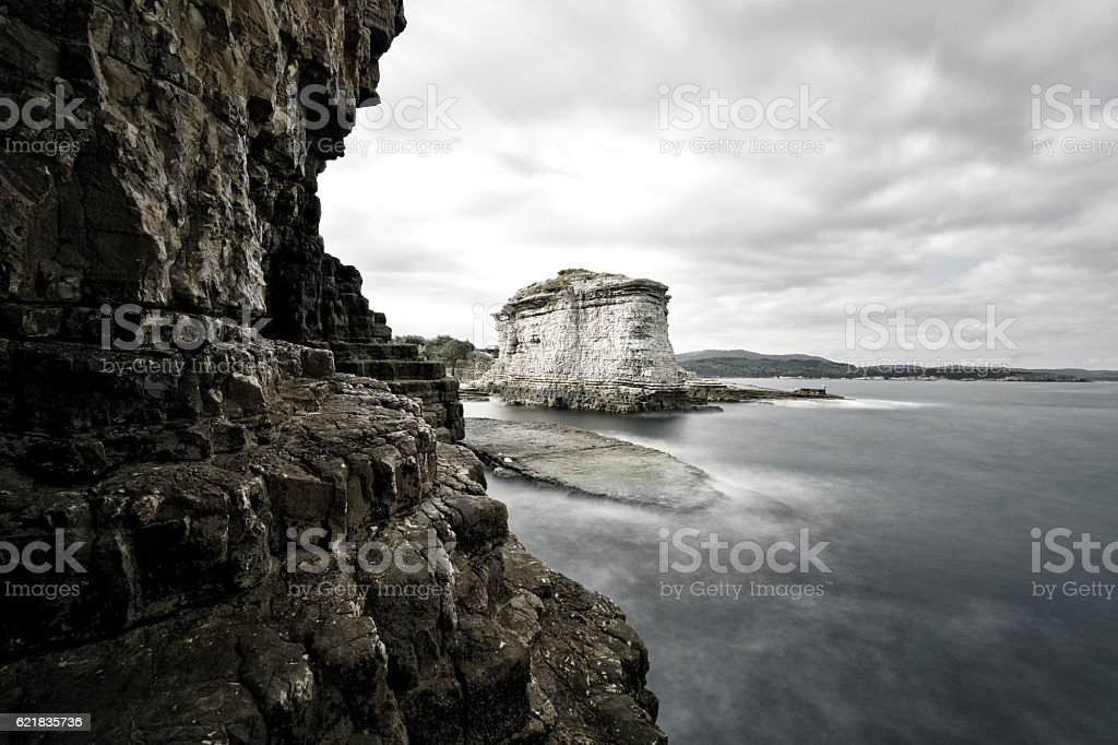 beautiful rocks forms on the sea stock photo