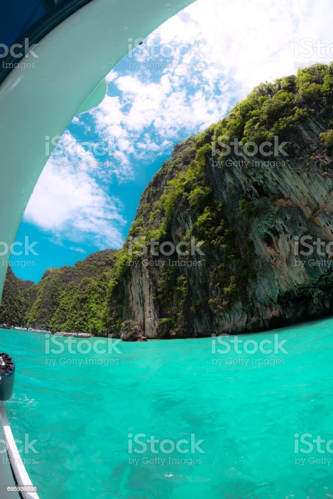 Beautiful rocks mountain and crystal clear sea at Krabi, Thailand stock photo