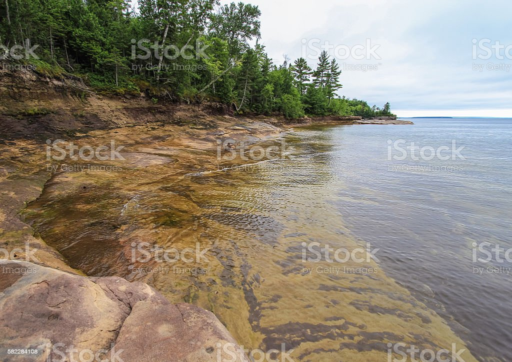 Beautiful Rocky Cove On Lake Superior stock photo
