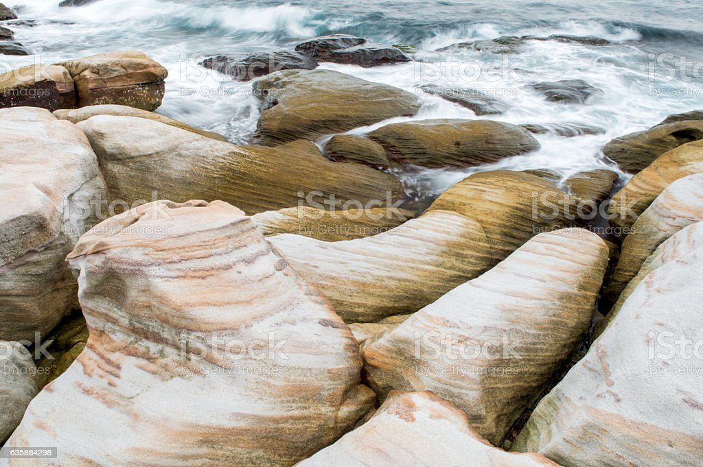 Beautiful rocky sea shore stock photo