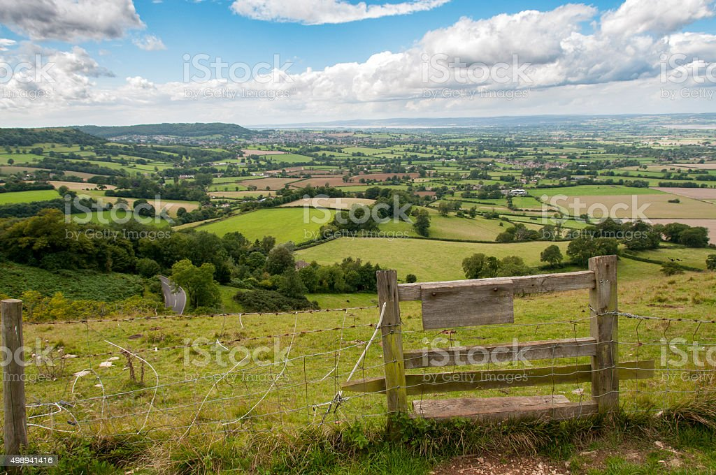 Beautiful Rolling Countryside Landscape In The Cotswolds, England stock photo