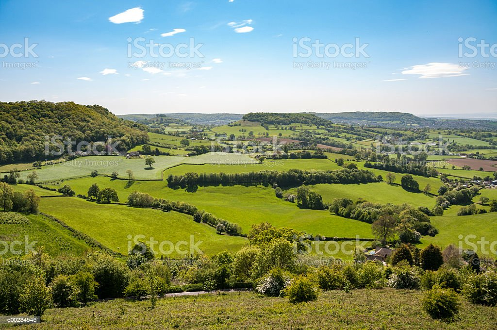Beautiful Rolling Landscape In The Cotswolds, England stock photo