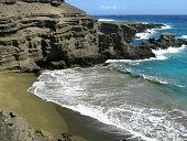 Beautiful Romantic Cove Papakolea, on the Big Island of Hawaii,