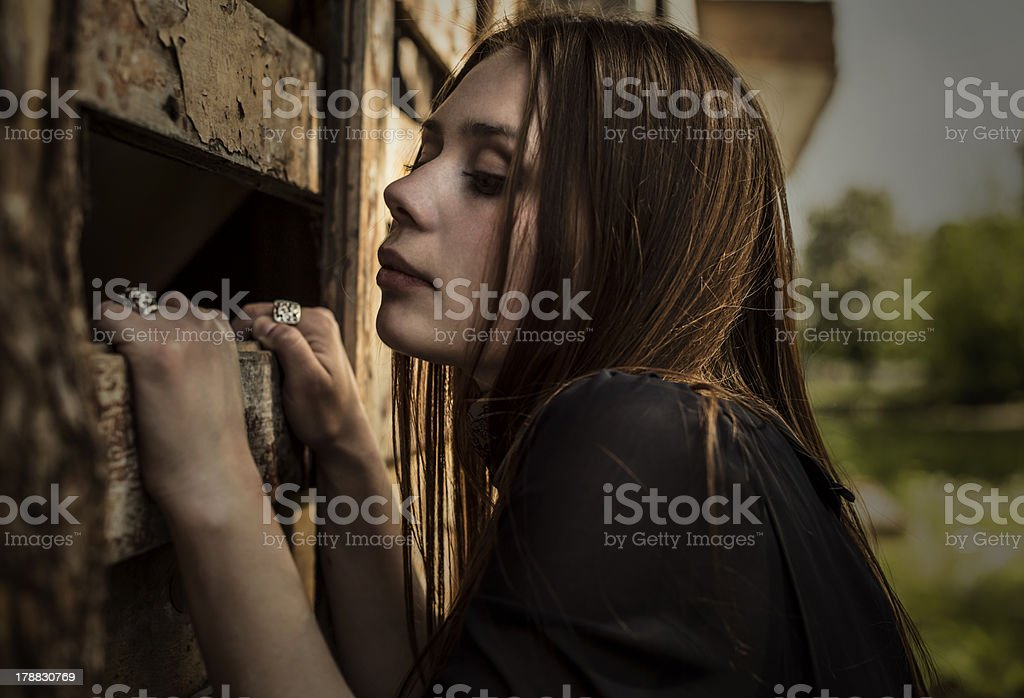 beautiful romantic girl outdoors in the village royalty-free stock photo