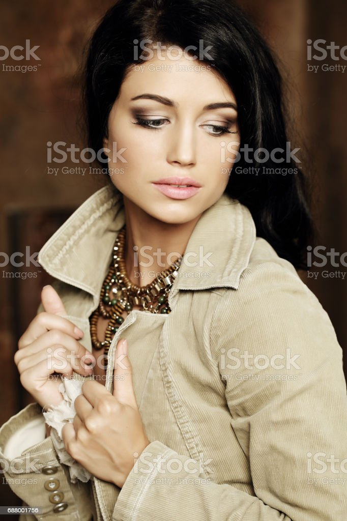 Beautiful romantic girl posing, fashion portrait stock photo