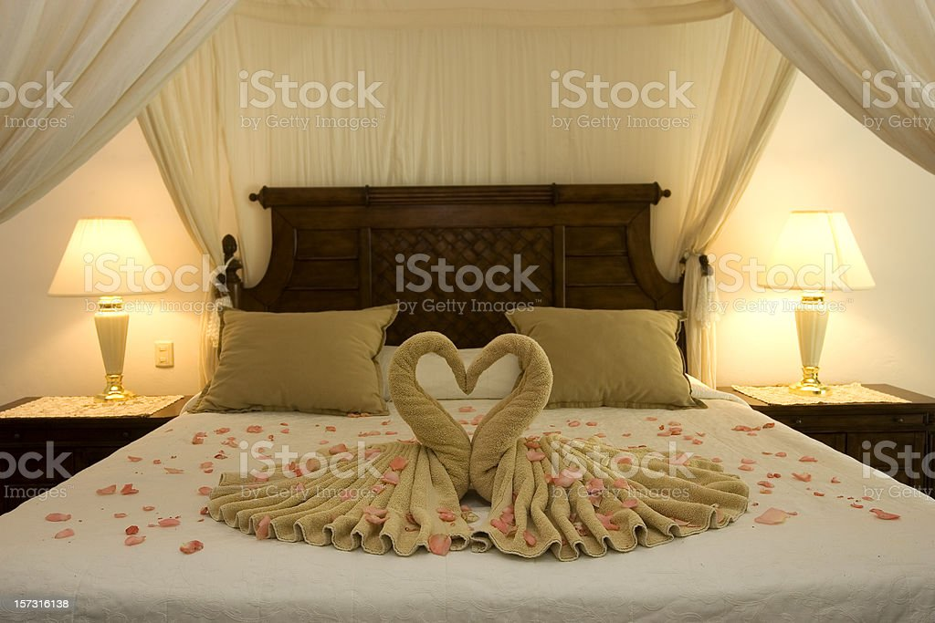 Beautiful Romantic Honeymoon Hotel Suite, Empty, Copy Space stock photo