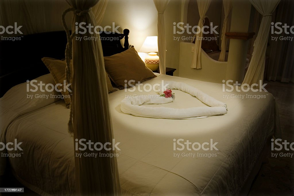 Beautiful Romantic Hotel Suite at Tropical Resort, Copy Space royalty-free stock photo