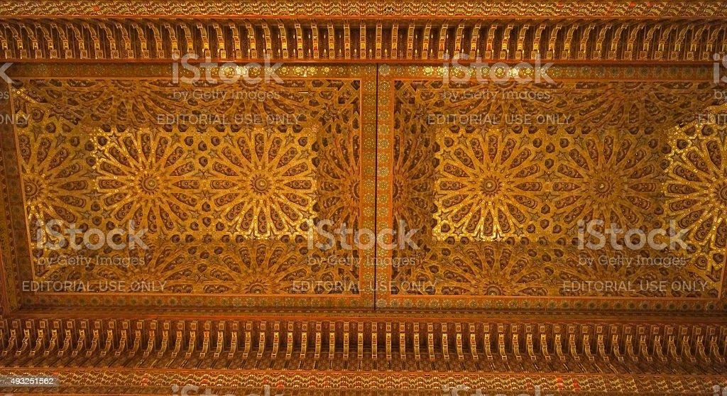 Beautiful roof in Hassan II Mosque, Casablanca. stock photo