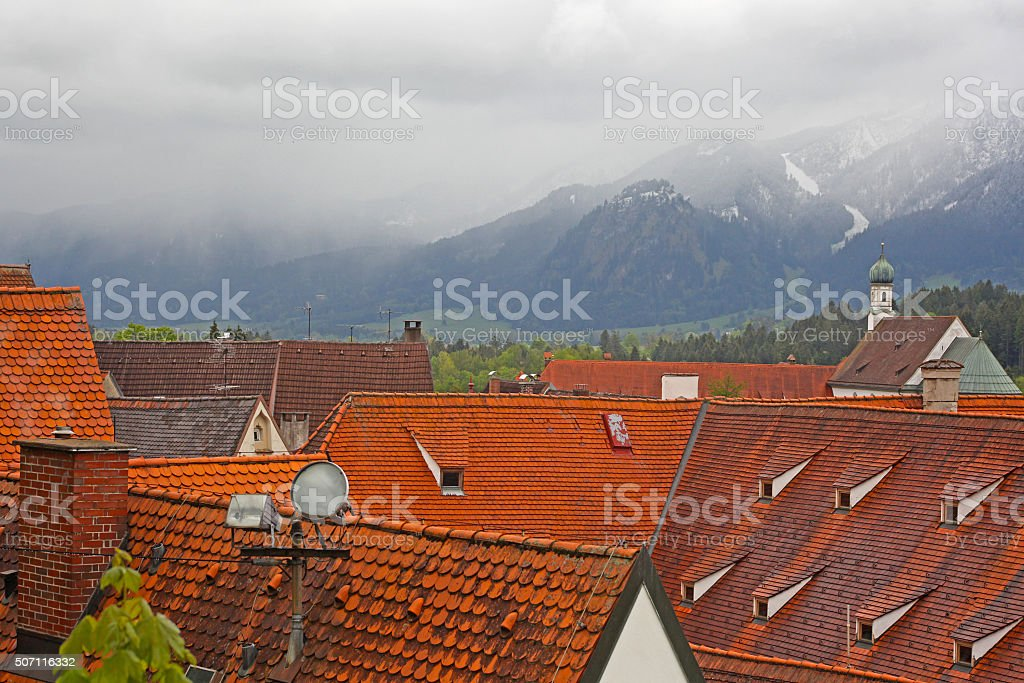 Beautiful roofs of houses in Fussen, Bavaria, Germany stock photo