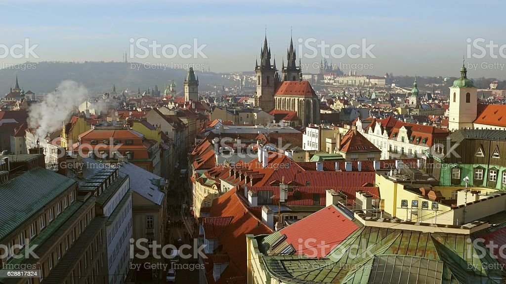 Beautiful roofs of old town Prague on a sunny day stock photo