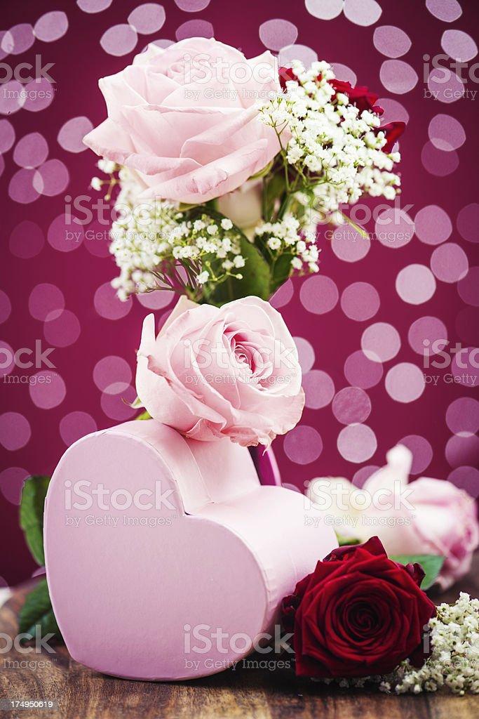 Beautiful roses and heart box royalty-free stock photo