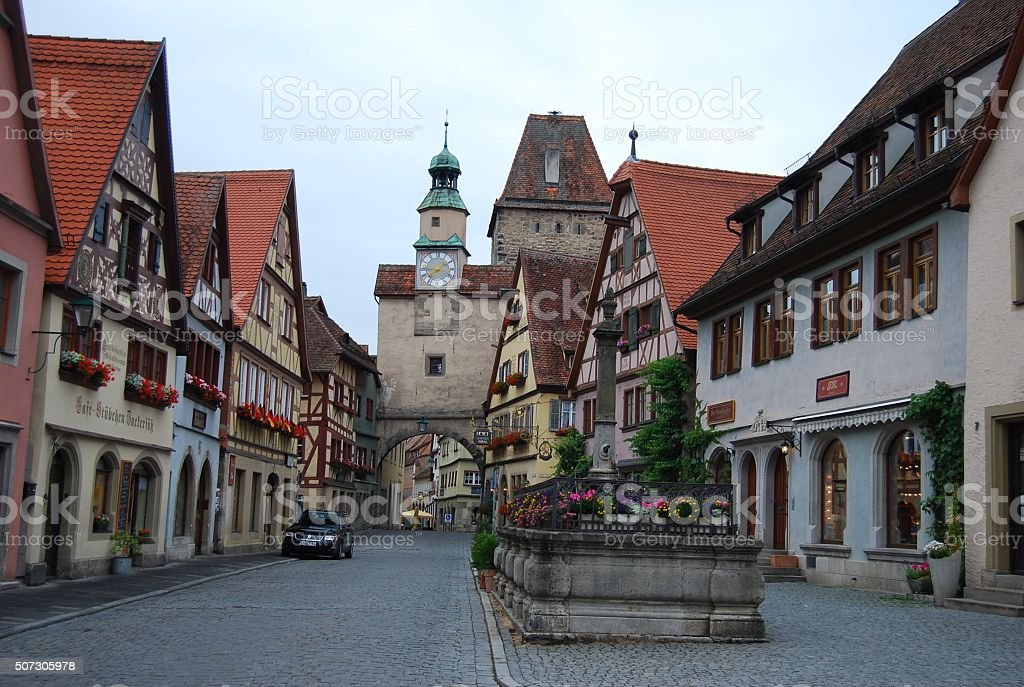 Beautiful Rotheburg street in the early morning. stock photo
