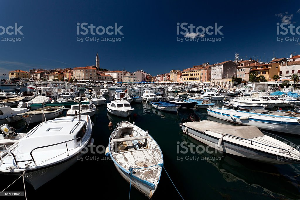 Beautiful Rovinj Harbor stock photo