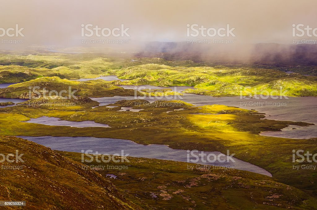 Beautiful rugged landscape in Inverpolly, Highlands of Scotland stock photo