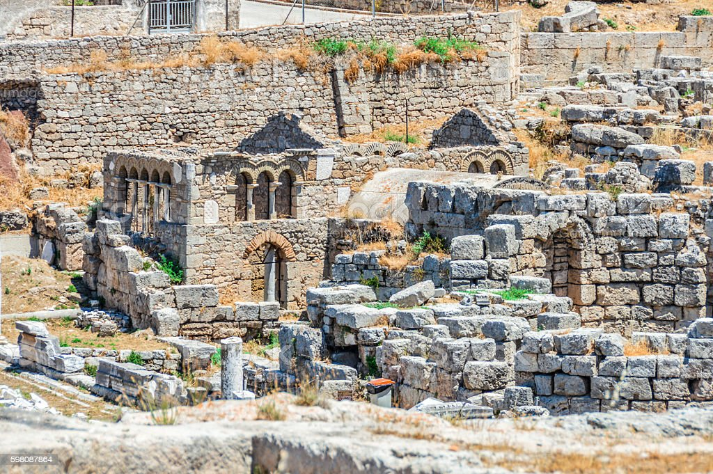 Beautiful ruins of Ancient Corinth in Greece stock photo