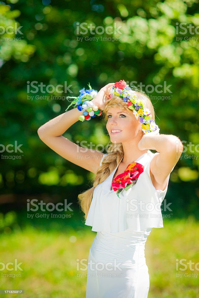 Beautiful russian woman in white royalty-free stock photo