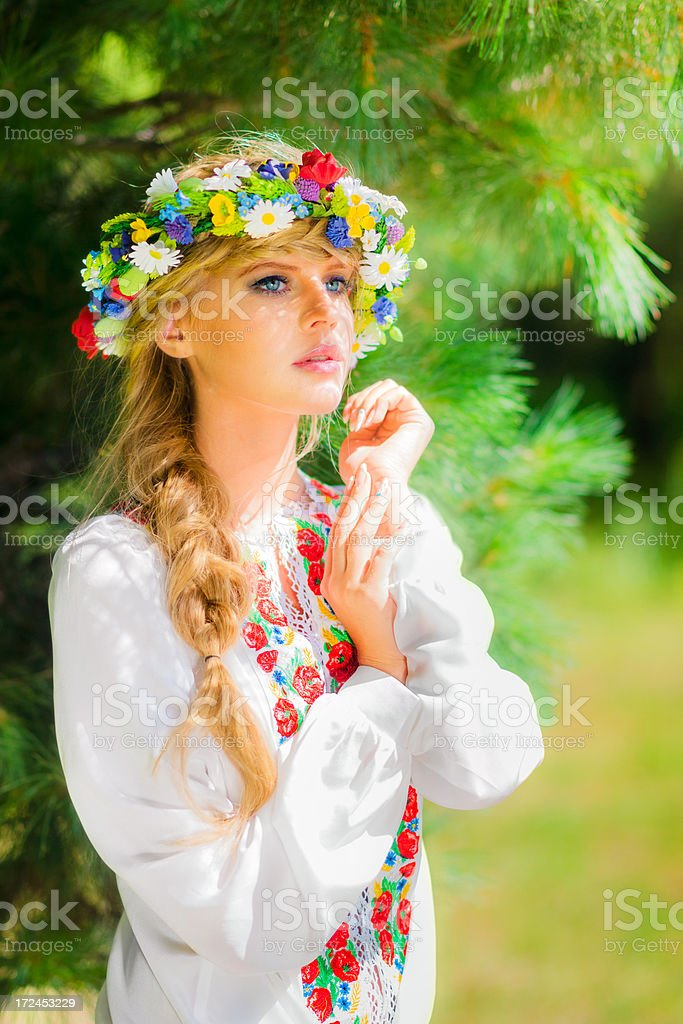 Beautiful russian woman in white shirt royalty-free stock photo