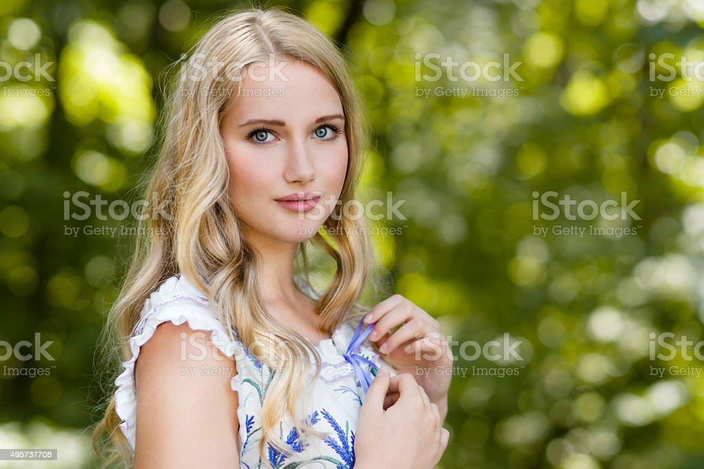 Beautiful russian woman stock photo