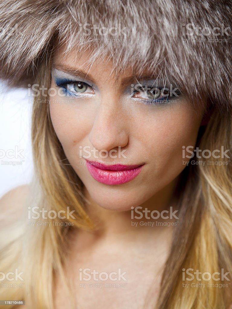 Beautiful russian woman with blue makeup and pink lipstick royalty-free stock photo