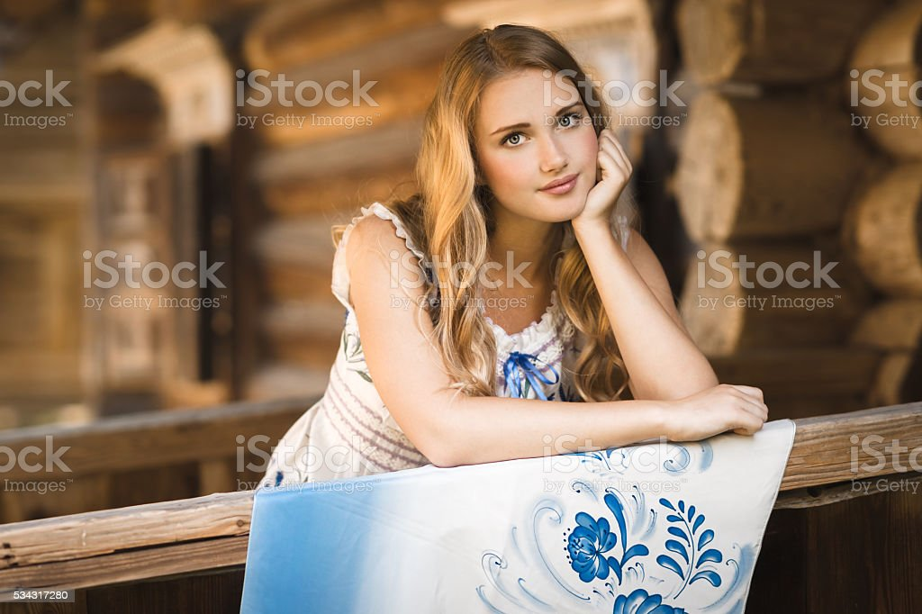 Beautiful russian woman with shawl stock photo