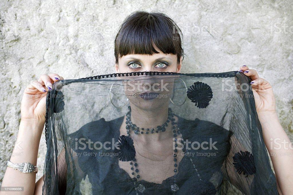 Beautiful Sad Woman Holding Black Veil royalty-free stock photo