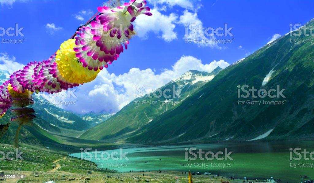 Beautiful saif ul malook lake Pakistan stock photo