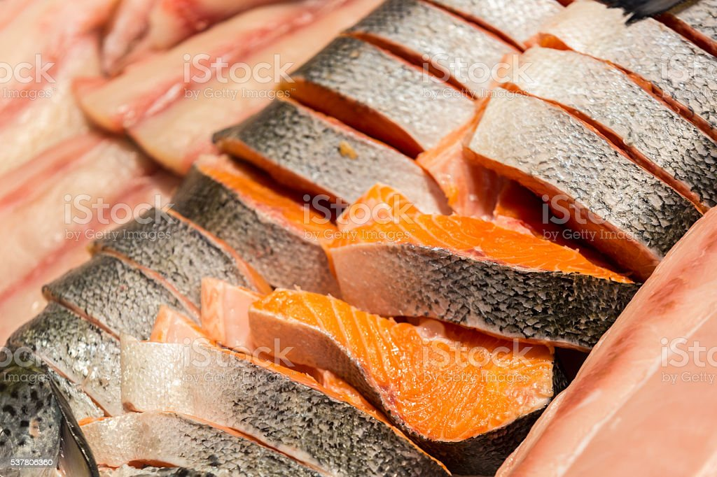 Beautiful salmon filets stock photo