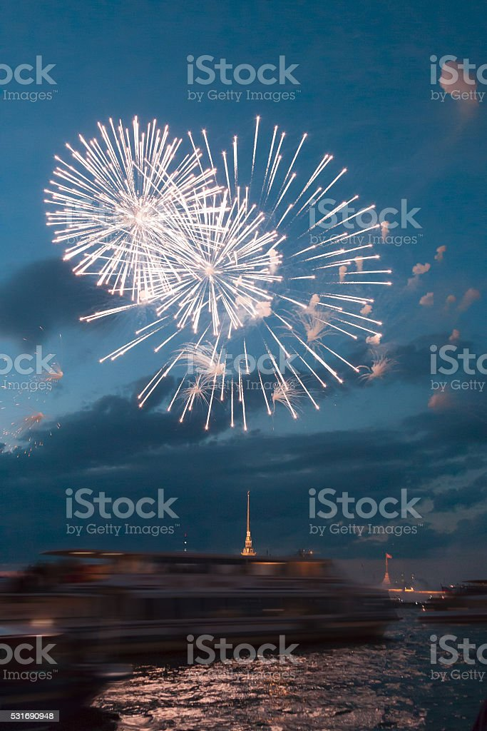 beautiful salute over the Neva River in the city of stock photo