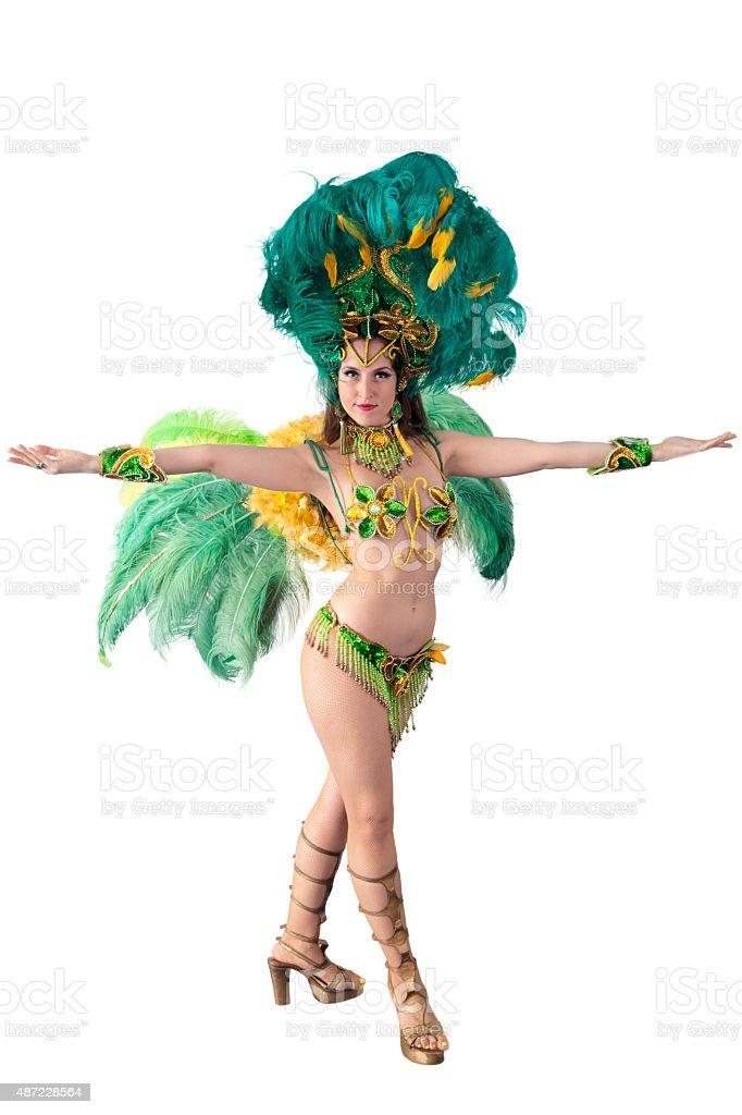 Beautiful samba carnival dancer. stock photo