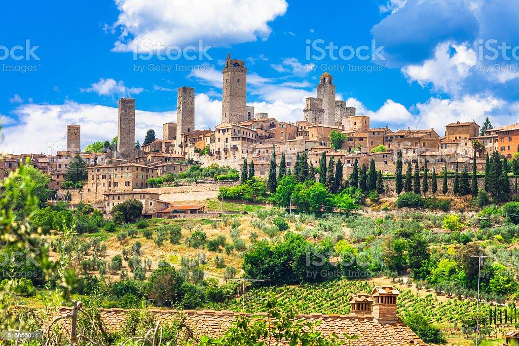 Beautiful San Gimignano,Tuscany,Italy. stock photo