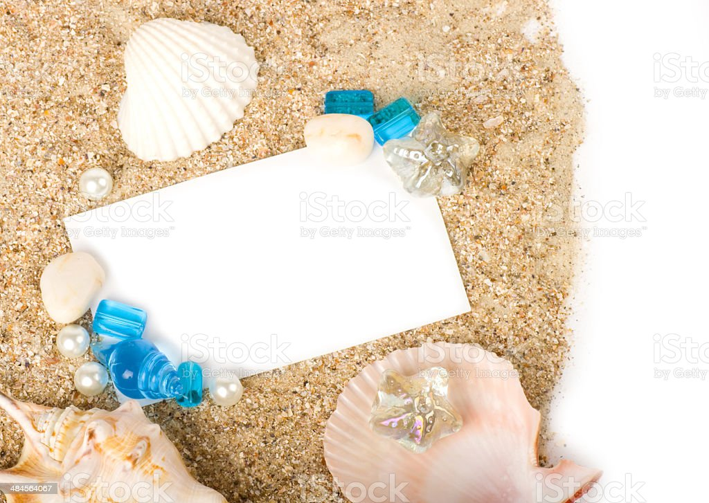 Beautiful sand background with exotic shell stock photo
