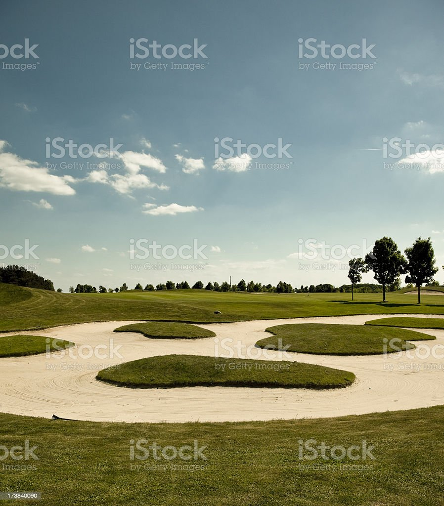 beautiful sand trap on the golf course royalty-free stock photo