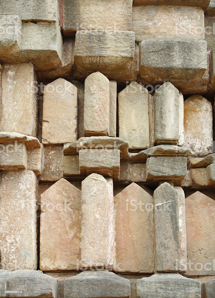 Beautiful sandstone blocks of the Chausat Yogini temple, Jabalpur, India stock photo