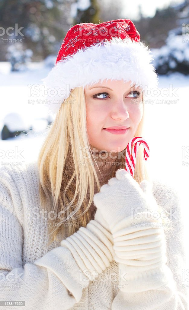 Beautiful santa girl royalty-free stock photo