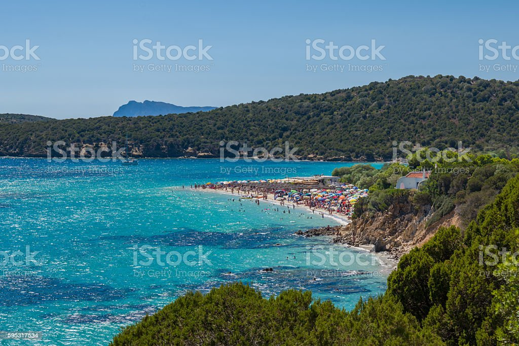 Beautiful Sardinia Beach at Turquoise Lagoon Sardegna Italy stock photo