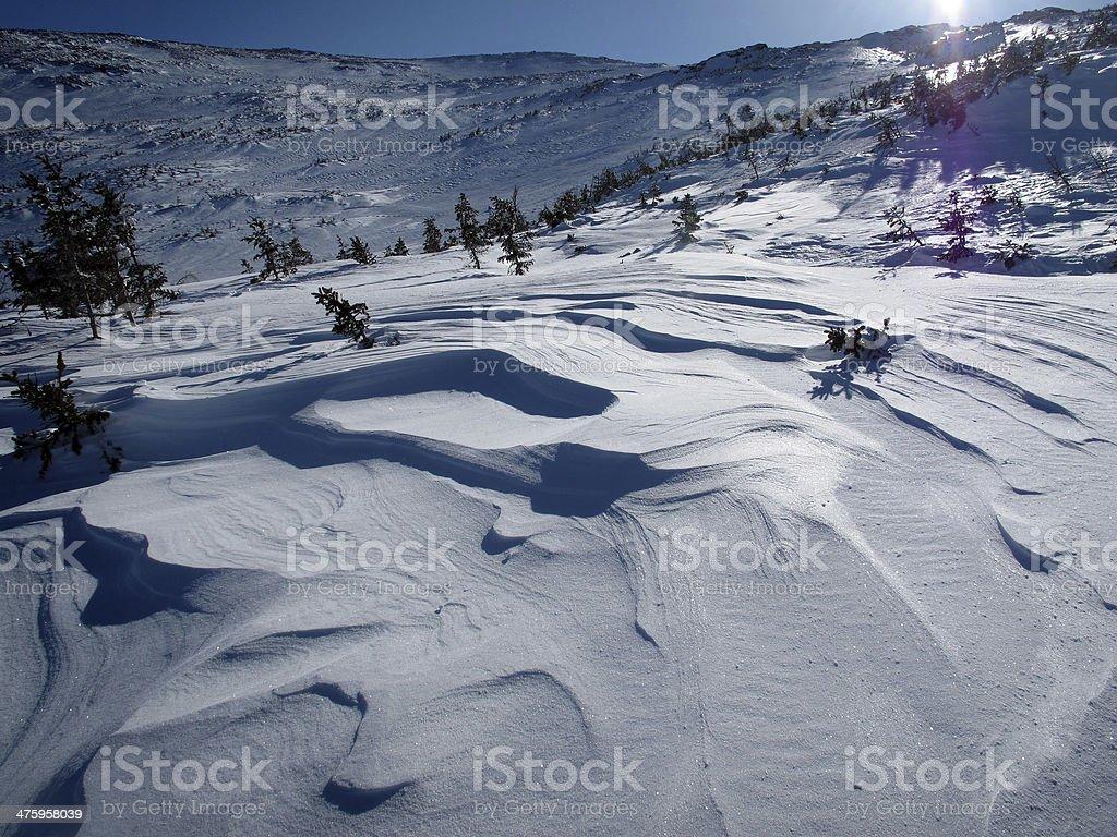 Beautiful Sastrugi Snow in Ammonoosuc Ravine stock photo