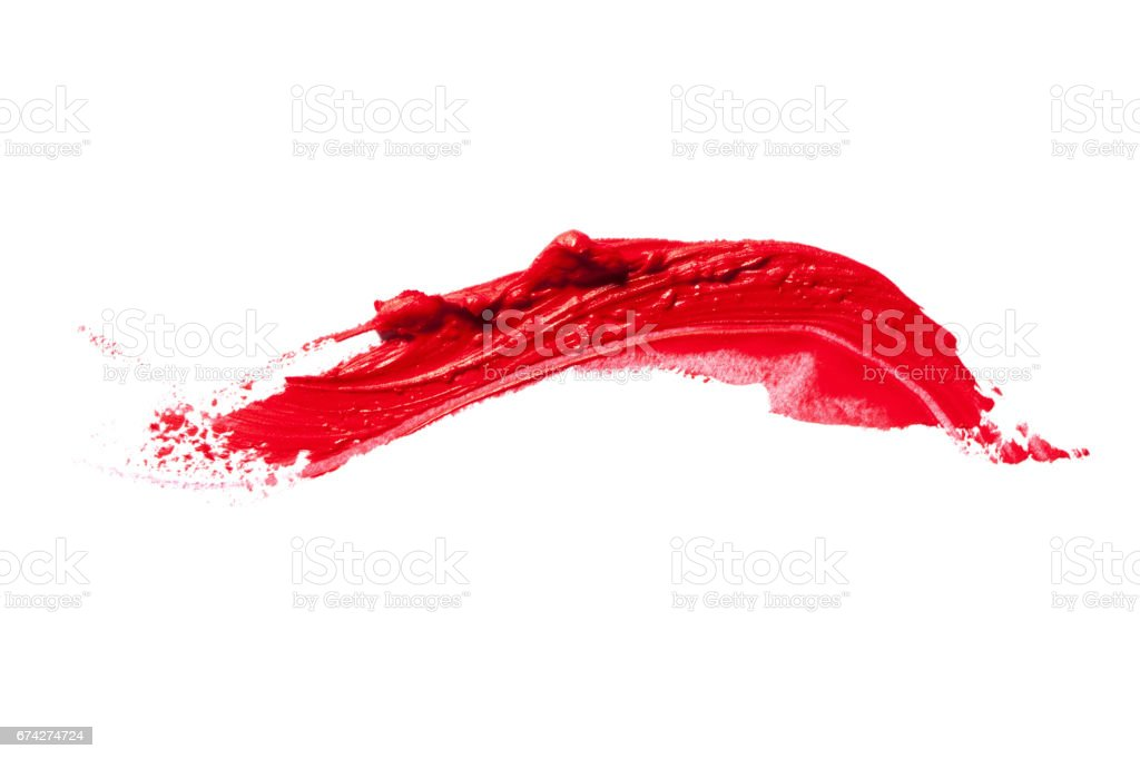 Beautiful saturated red lipstick on white background. stock photo