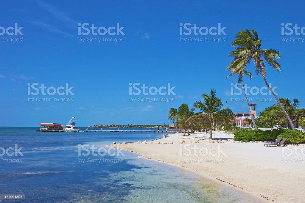 A beautiful scene of a beach resort on the ocean stock photo