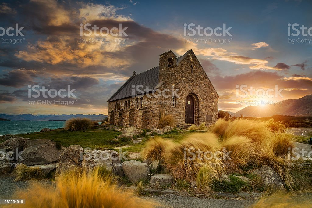Beautiful scene of Church of good Shepherd, New Zealand stock photo