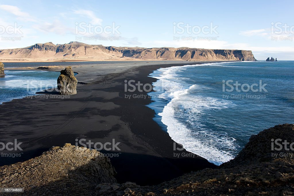 Beautiful scene of Reynisdrangar from Dyrholaey, Iceland stock photo