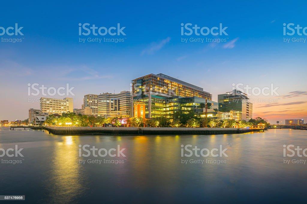 Beautiful scene of Siriraj Hospital in Bangkok , Thailand at sunset stock photo